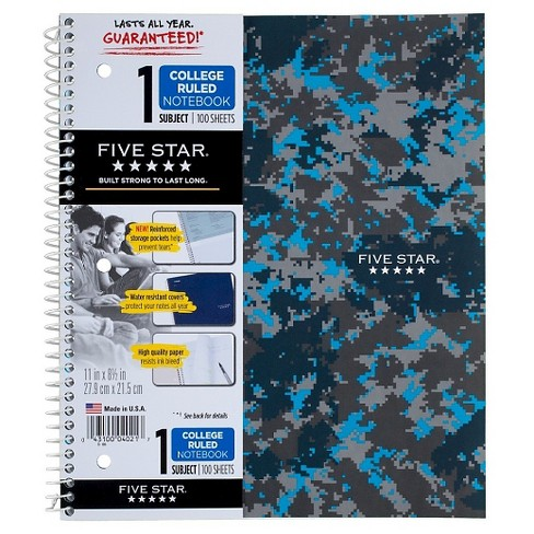 "Spiral Notebook 1 Subject College Ruled 8.5""x 11"" - Five Star - image 1 of 4"