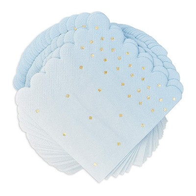 Sparkle and Bash 100 Pack Ombre Blue Disposable Paper Napkins 5 Inches Party Supplies