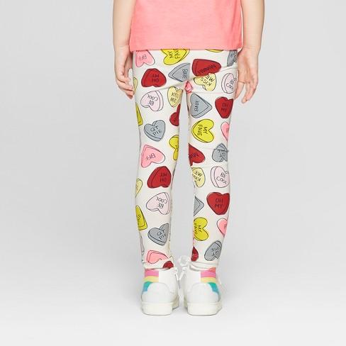 563652e4002a5 Toddler Girls' 'Hearts' Leggings - Cat & Jack™ Cream : Target
