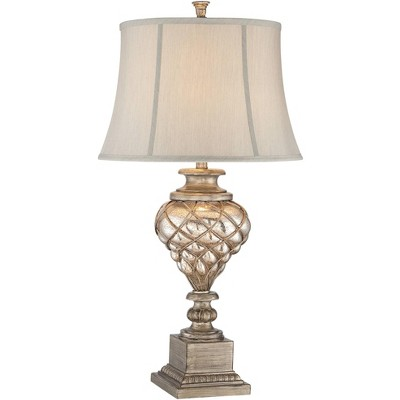 Barnes and Ivy Luke Mercury Glass LED Nightlight Lamp with Table Top Dimmer