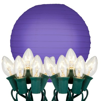 """10ct 10"""" Electric String Light With Paper Lanterns Purple"""