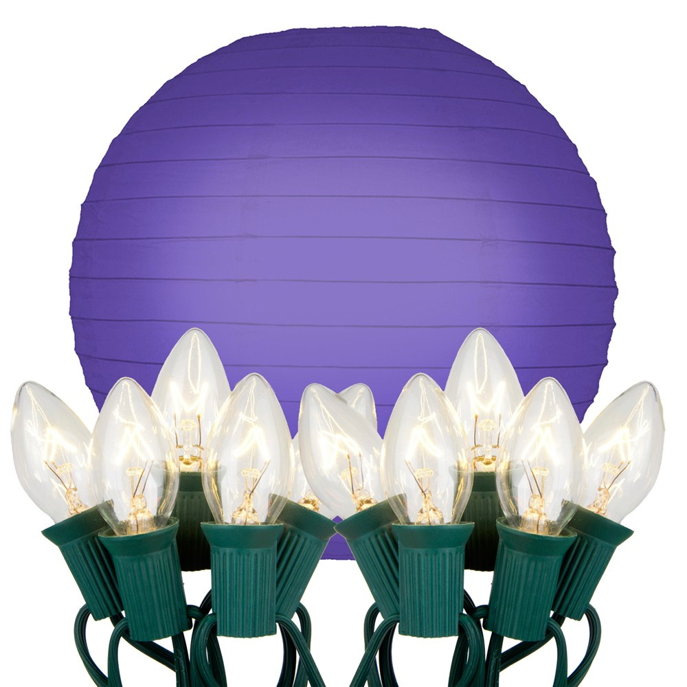 "Image of ""10ct 10"""" Electric String Light With Paper Lanterns Purple"""