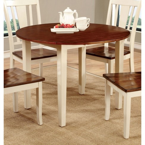 Sun Pine Curved Edge Round Dining Table Wood Cherry And Vintage White Target