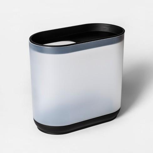 Bathroom Wastebasket Frosted White/Black - Room Essentials™ - image 1 of 1