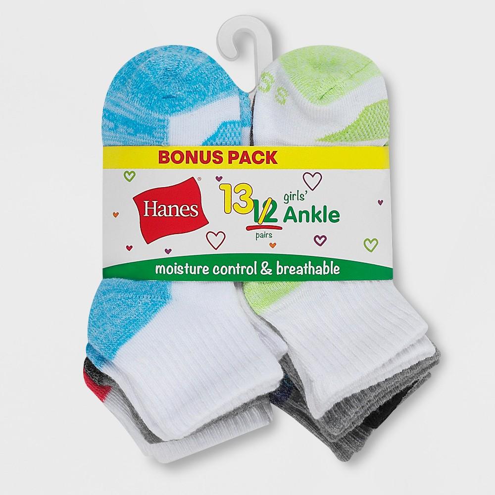 Hanes Girls' 12 + 1 Bonus Pack Cool Comfort Socks - Colors May Vary L, Multicolored
