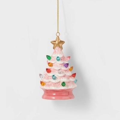 Lit Ceramic Retro Christmas Tree Christmas Tree Ornament Pink - Wondershop™