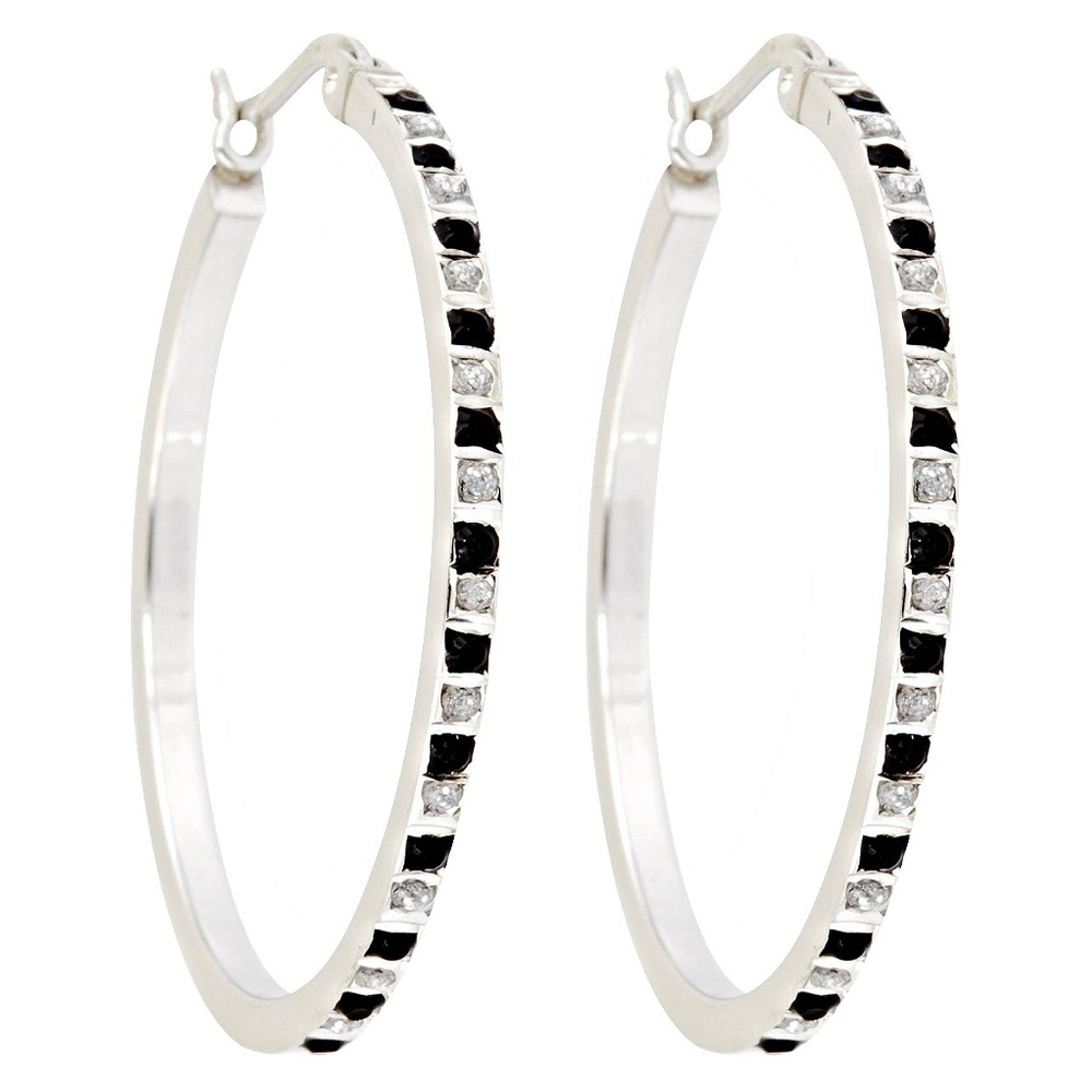 Hoop Sterling Silver Earrings with Black and White Diamond Accents