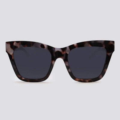 Women's Animal Print Cateye Plastic Silhouette Sunglasses - Wild Fable™ Gray