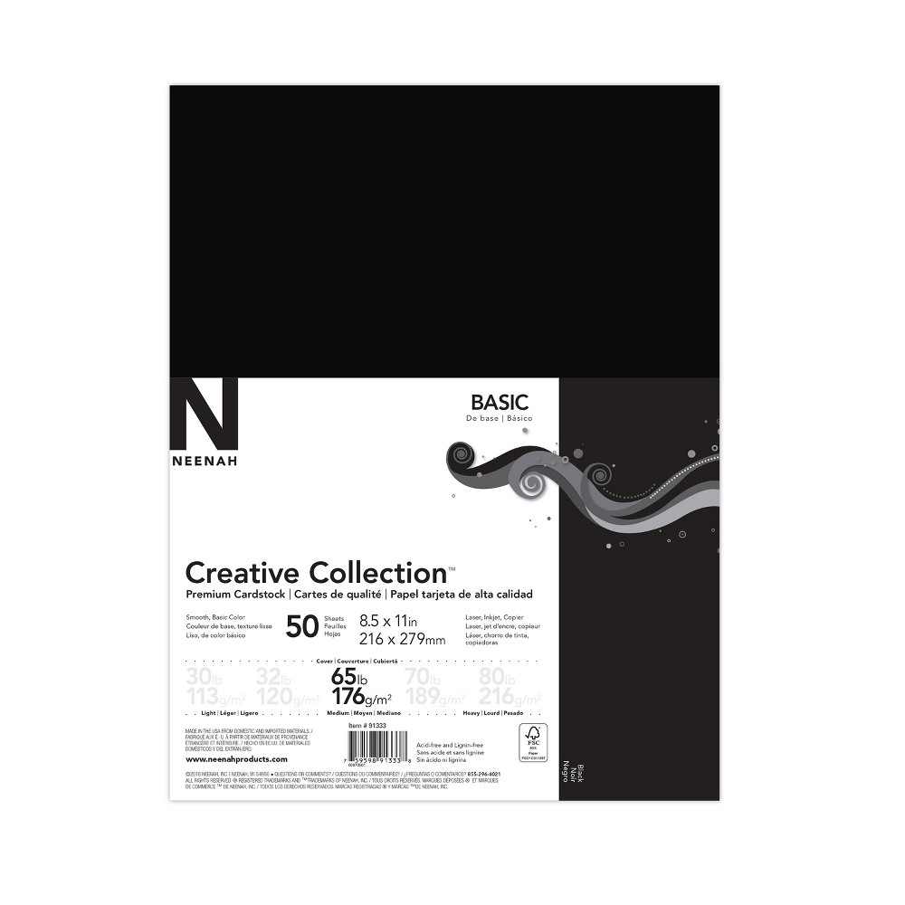 Image of 50ct Premium Cardstock 65lb Black - Creative Collection