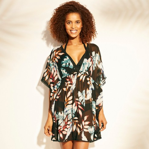 d6174eef78bfd Women s Smocked Waist Woven Kaftan Cover Up - Kona Sol™ Black Palm ...
