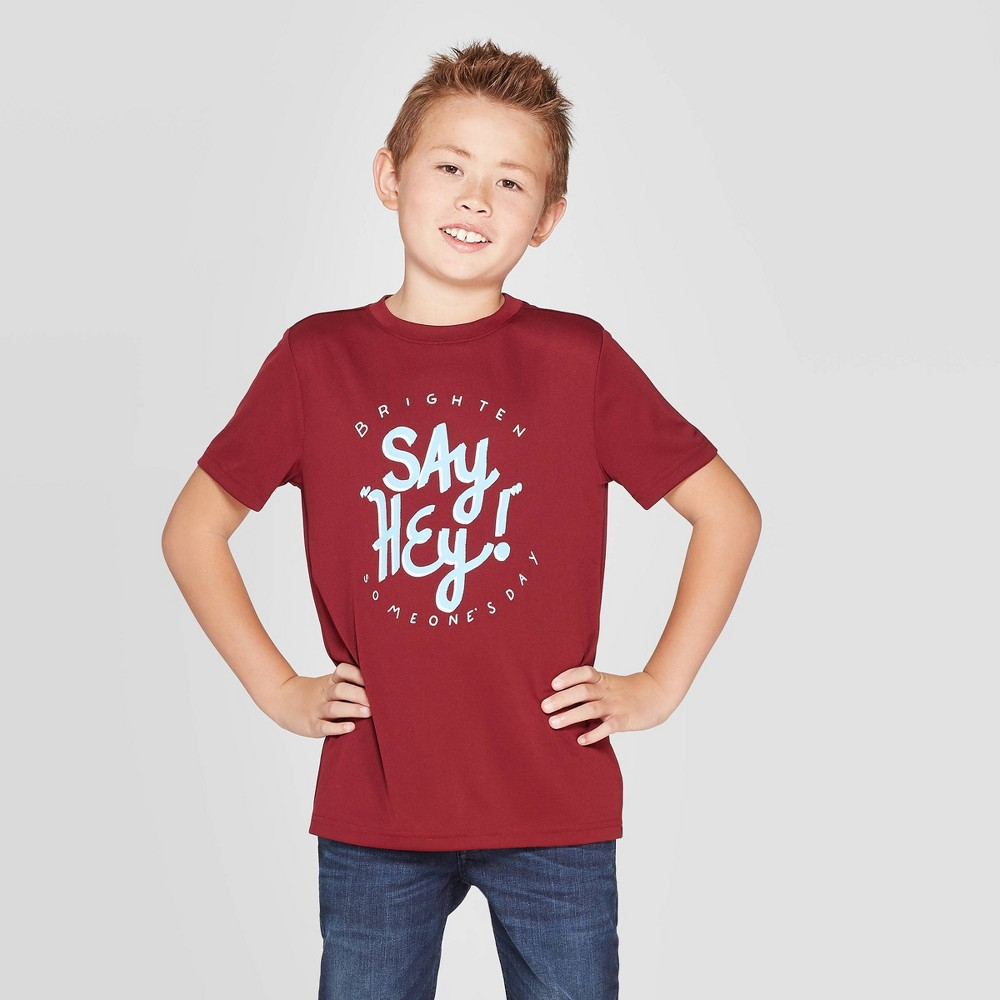 Image of petiteBoys' Short Sleeve Athletic Graphic T-Shirt - Cat & Jack Maroon S, Boy's, Size: Small, Red