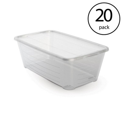Life Story 6 Qt Rectangular Clear Plastic Protective Storage Shoe Box (20 Pack)