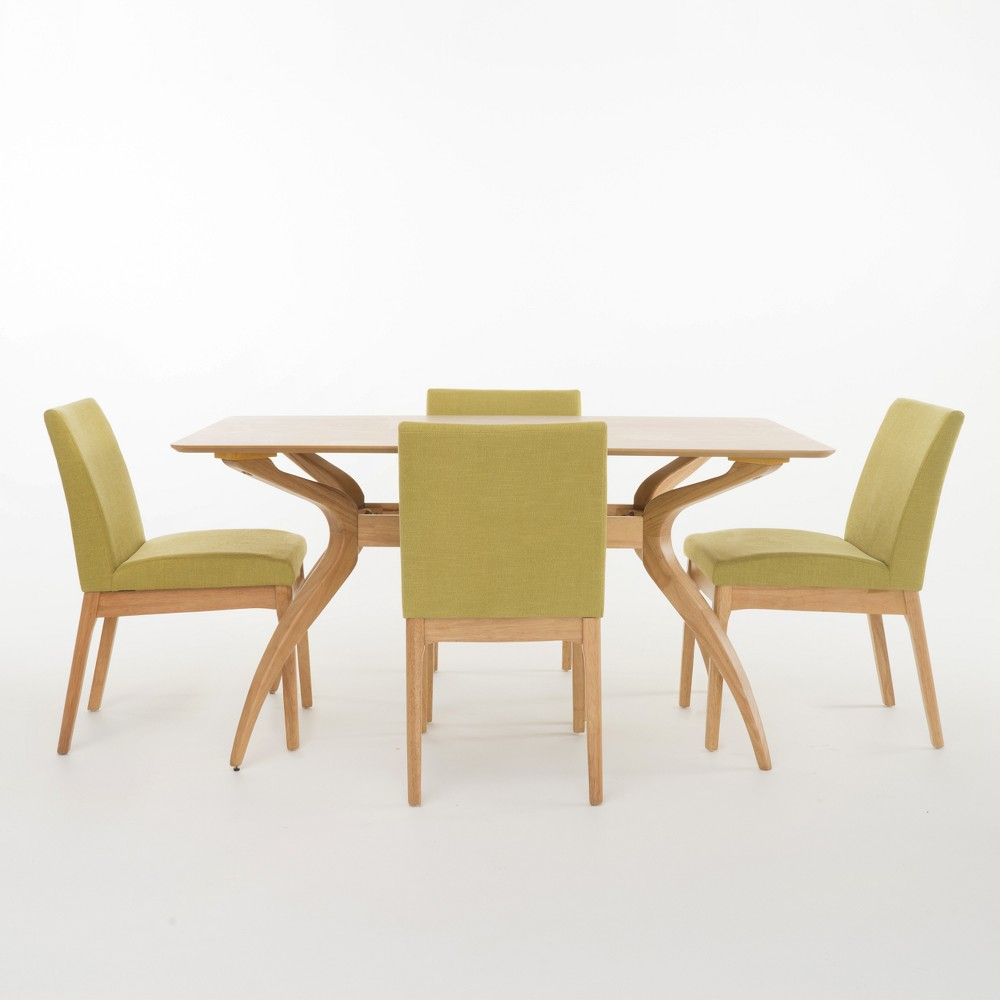 Kwame 60 5pc Curved Leg Dining Set Natural Oak Brown/Green Tea - Christopher Knight Home, Green Tea/Brown