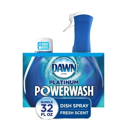 Dawn Platinum Powerwash Dish Spray, Dish Soap, Fresh Scent Bundle, 1 Starter-Kit (16 fl oz) plus 1 refill (16 fl oz ea)