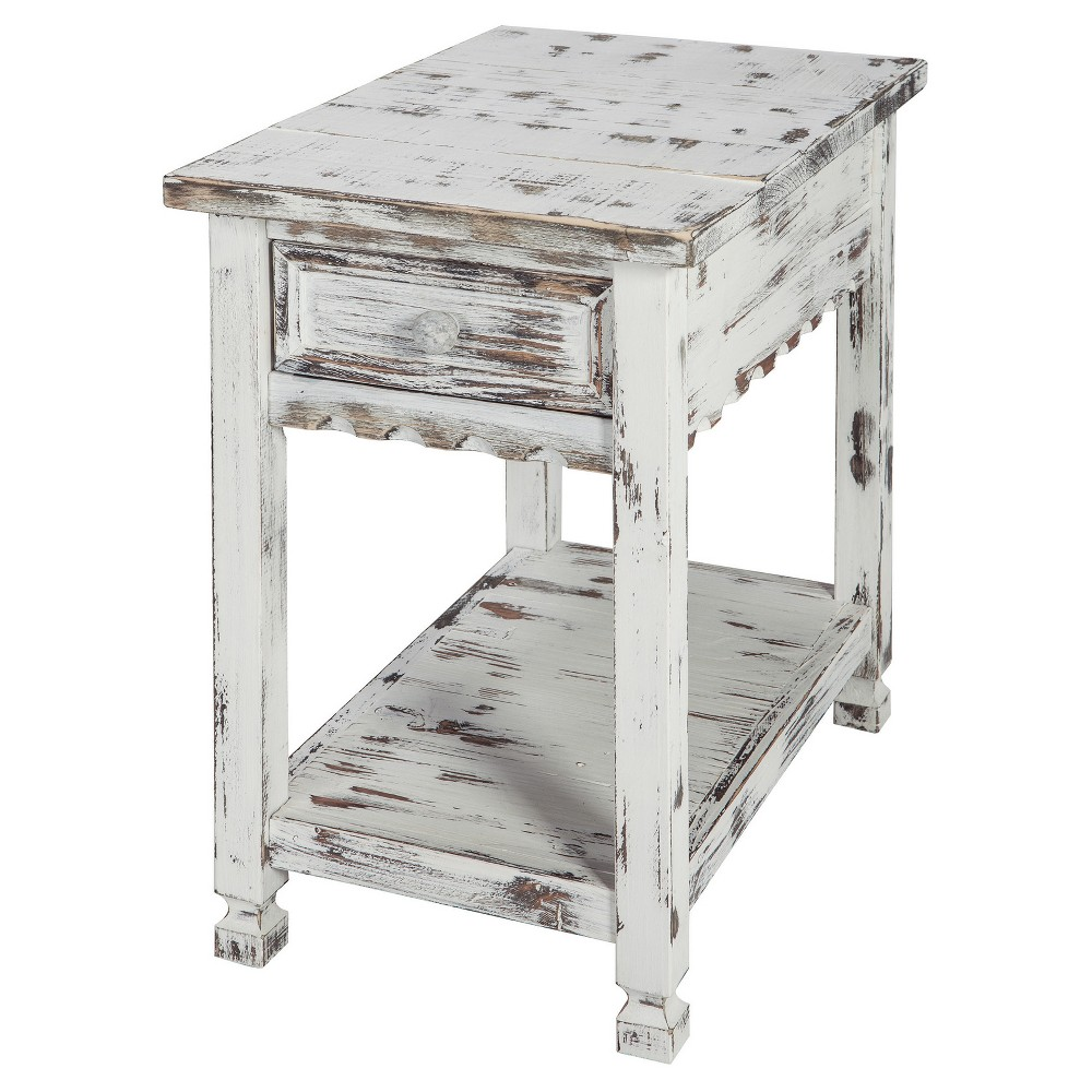 1-drawer Accent Table Wood White - Alaterre Furniture
