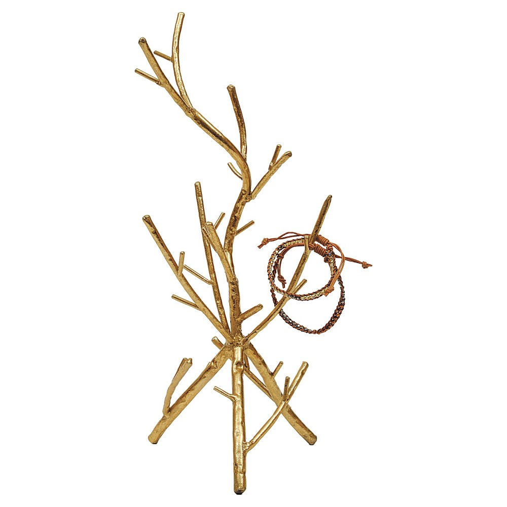 Metal Twig Jewelry Holder - Gold Flaunt your favorite jewels with the Metal Twig Jewelry Holder in Gold. It's perfect for displaying your absolute favorite necklaces, bracelets and rings. It looks good as a stand-alone sculpture too! The body is made out of metal making it a sturdy piece that's easy to clean and care for. This jewelry stand is everything you could ever need or want-a jewelry tree perfect for all of your jewelry, and a gorgeous piece of art on which to display your favorite baubles. Gender: Female.