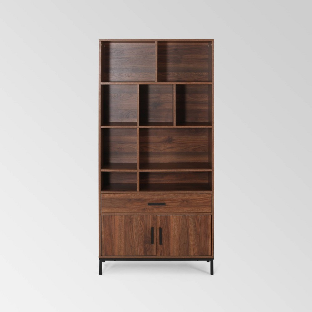 Image of Gallatin Contemporary Cube Unit Bookcase Walnut - Christopher Knight, Brown