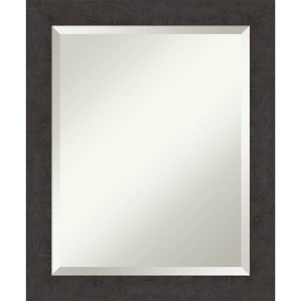 "Image of ""19"""" X 23"""" Rustic Plank Narrow Framed Bathroom Vanity Wall Mirror Espresso Brown - Amanti Art"""