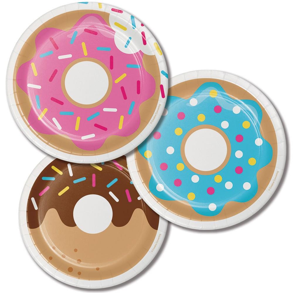 24ct Donut Time Dessert Plates Pink