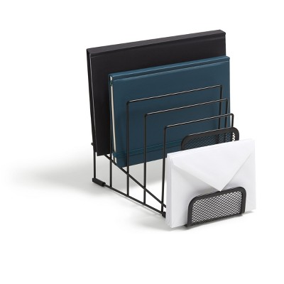 MyOfficeInnovations 6 Compartment Wire Mesh Letter Holder, Matte Blk 24402460
