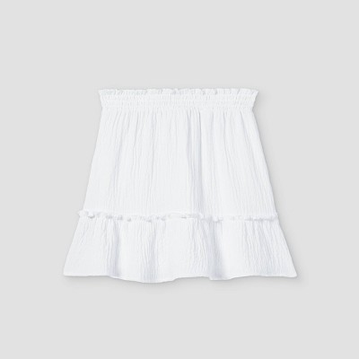 Girls' Smocked Ruffle Bottom A-Line Skirt - art class™ White