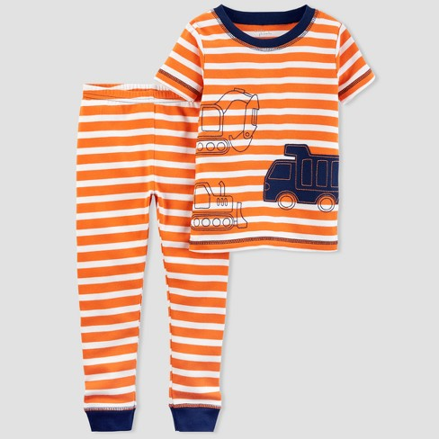 Baby Boys' 2pc Truck Pajama Set - little planet™ organic by carter's® Orange Stripe 24M - image 1 of 1
