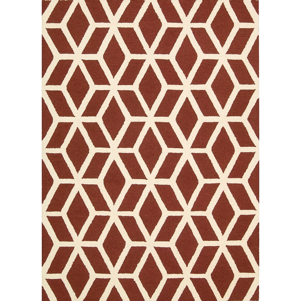 Nourison Kinetic Linear Area Rug - Red Brick/Ivory (5'X7')