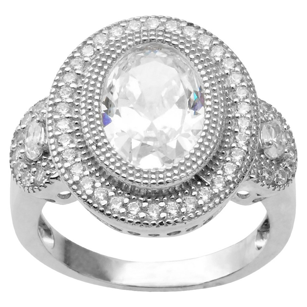 2 1/4 CT. T.W. Oval Cut CZ Basket Set Halo Ring in Sterling Silver - Silver (9)