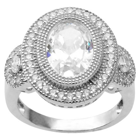 2 1/4 CT. T.W. Oval Cut CZ Basket Set Halo Ring in Sterling Silver - Silver - image 1 of 2