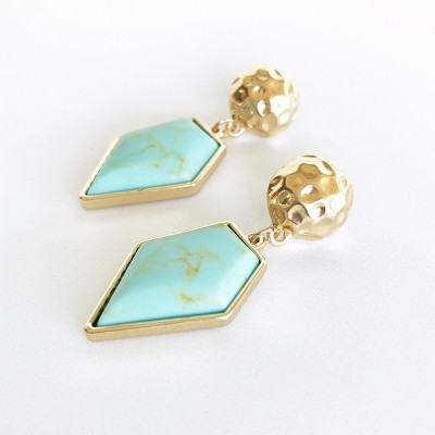 Sanctuary Project Diamond Shaped Semi Precious Turquoise Drop Earrings Gold