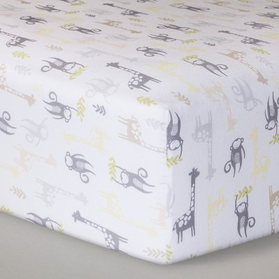 Fitted Crib Sheet Monkeys & Giraffes - Cloud Island™ - Yellow/Gray