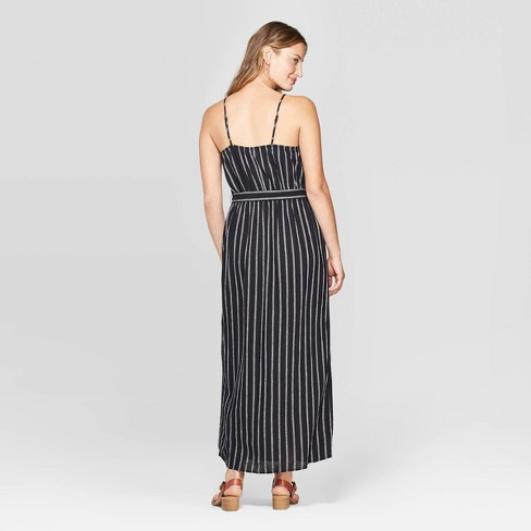 1d1a35f69 Women s Sleeveless V-Neck Button Front Striped Maxi Dress - Universal  Thread™ Black White   Target