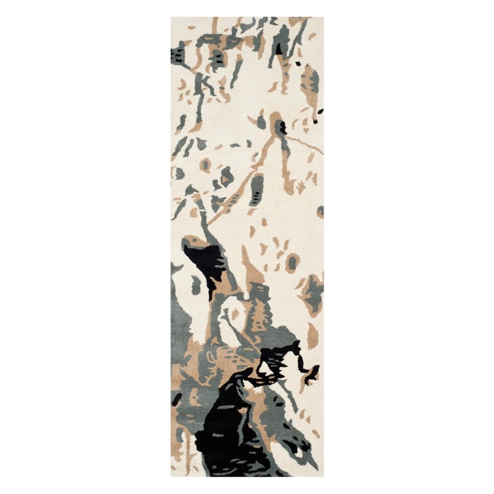 2'3X9' Splatter Runner Ivory - Safavieh, Blue