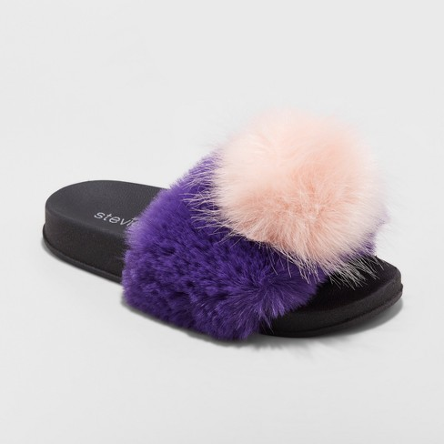 ae658b1709eb Girls  LUVUALATTE Satin Furry Slide Sandals Pink 13   Target