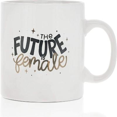 Okuna Outpost White Large Ceramic Coffee Mug Tea Cup, The Future Is Female (White, 16 oz)