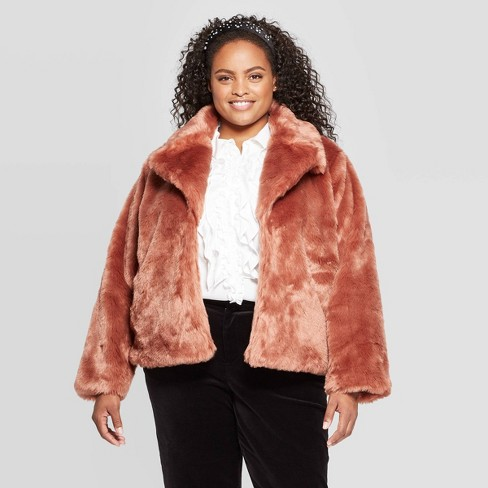 Women's Plus Size Long Sleeve Faux Fur Jacket - A New Day™ - image 1 of 3