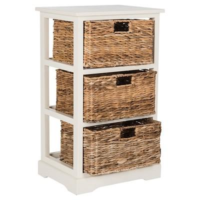 Halle 3 Wicker Basket Storage Side Table   Safavieh®