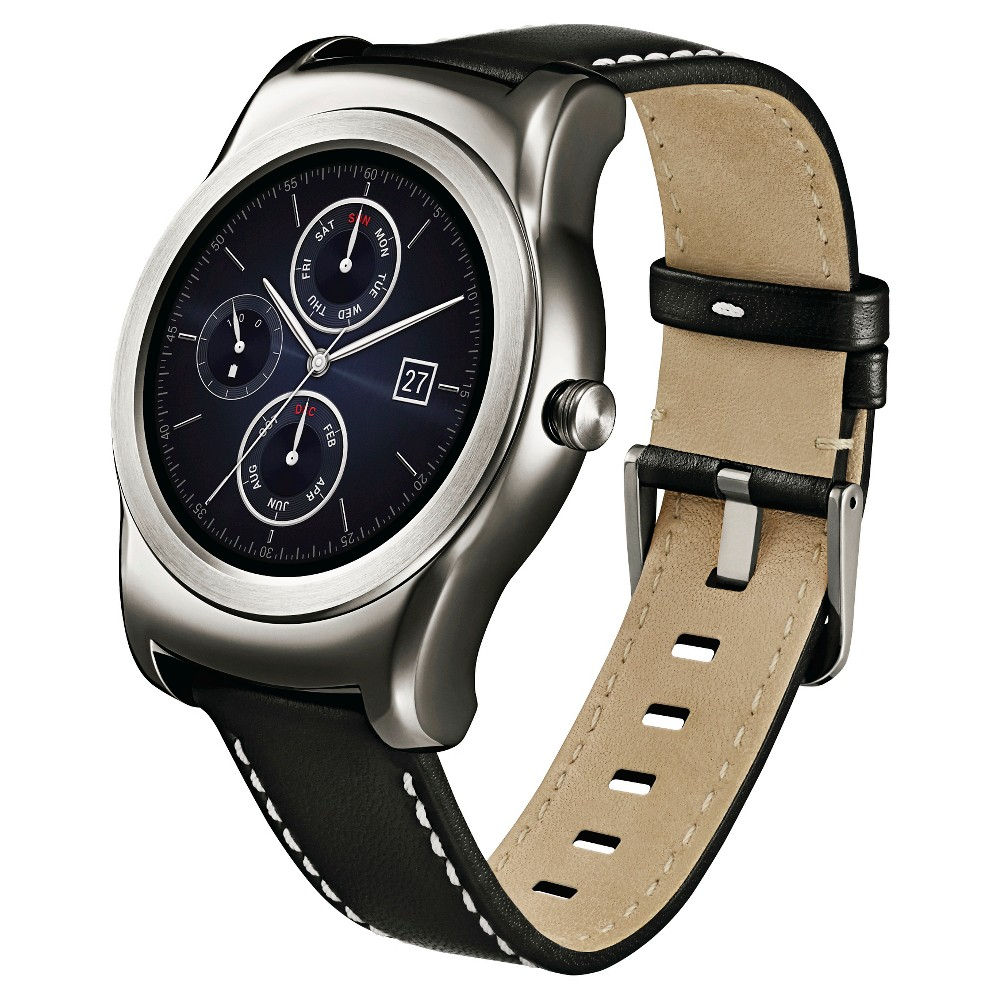LG Watch Urbane Wearable Smartwatch - Silver with Black Strap, Size: Large