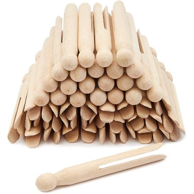 """50 Count Traditional Round Clothespins 4.3"""" Laundry Supplies Clothes Line Wood Clothes Pins"""
