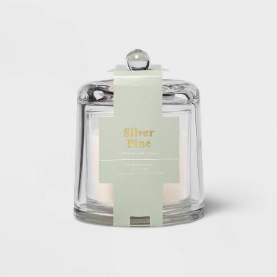 8.2oz Cloche Glass Silver Pine Candle - Threshold™