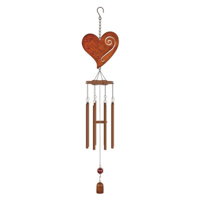 36  Tall Metal And Marble Heart Chime - Rustic - Sunset Vista Design