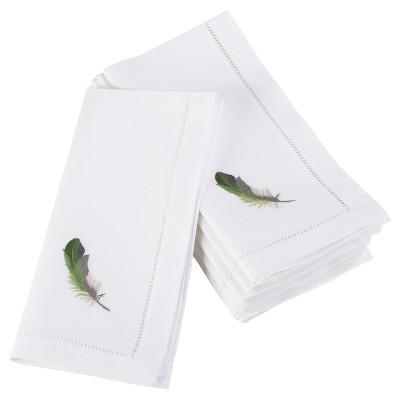6pk White Embroidered Green Feather Design Napkin 20  - Saro Lifestyle®