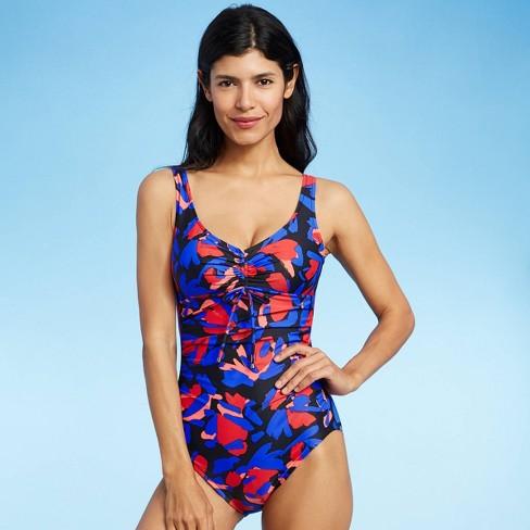 Women's Cinch-Front One Piece Swimsuit - Aqua Green® - image 1 of 4