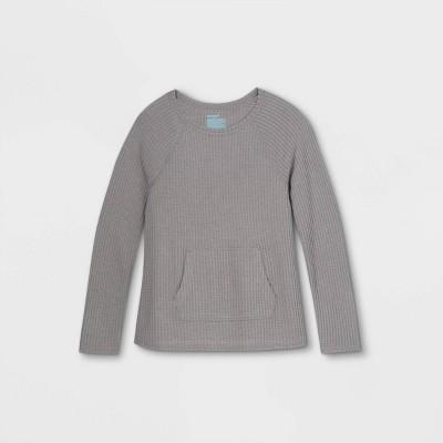 Girls' Adaptive Abdominal Access Cozy Waffle Long Sleeve T-Shirt - Cat & Jack™ Gray