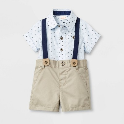 Baby Boys' Bowtie suspender Top and Bottom Set - Cat & Jack™ Blue/Khaki 18M