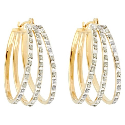 Flare Sterling Silver Earrings with Diamond Accents - Yellow - image 1 of 1