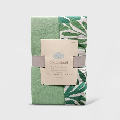 Crib Fitted Sheets Ferms and Solid Green - Cloud Island™ Green 2pk