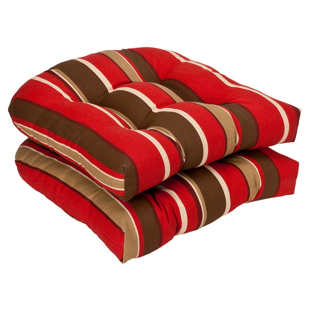 2 Piece Outdoor Chair Cushion Set - Brown/Red Stripe - Pillow Perfect