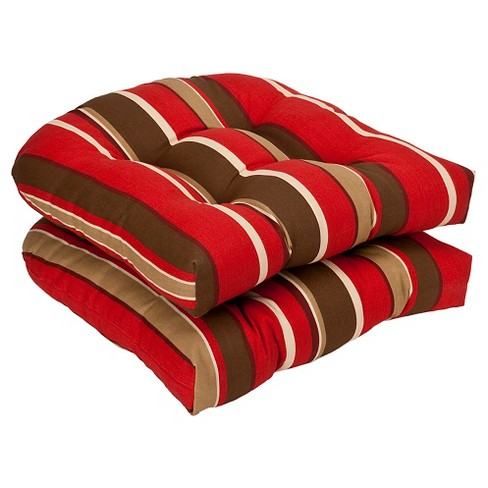 2 Piece Outdoor Chair Cushion Set Brown Red Stripe Pillow