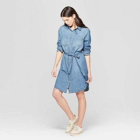 Image result for Women's Long Sleeve Denim Shirtdress - Universal Thread